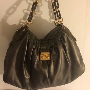 Marc by Marc Jacobs gray leather satchel large L